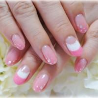 Cenbless ピンクカラーグラデーション&ダブルフレンチネイル