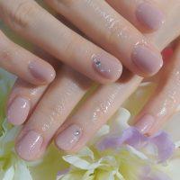 Cenbless 成増フェイシャル&ネイルサロン 清楚なベージュピンクのワンカラーネイル