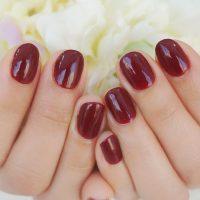 Cenbless 成増フェイシャル&ネイルサロン すっきり清潔なショート爪に映えるボルドーネイル
