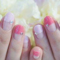 Cenbless 成増フェイシャル&ネイルサロン 春色ピンクのストレートフレンチネイル