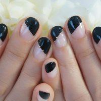 Cenbless 成増フェイシャル&ネイルサロン COOLな漆黒!斜めフレンチネイル