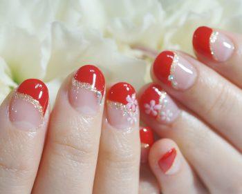 Cenbless 成増フェイシャル&ネイルサロン ご結婚式の和装ネイル☆艶やかな赤フレンチに小花