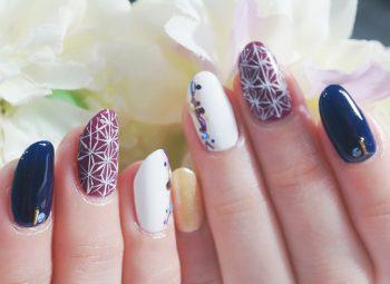 Cenbless 成増フェイシャル&ネイルサロン お正月に♪麻の葉柄をトレンド塗りかけ風アート
