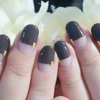 Cenbless 成増フェイシャル&ネイルサロン ビターチョコレート色のストレートフレンチネイル