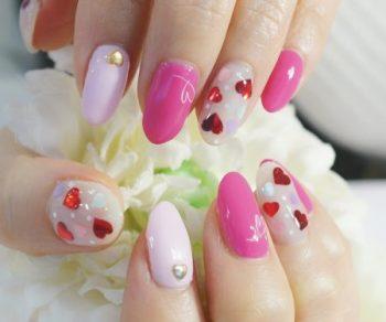 Cenbless 成増フェイシャル&ネイルサロン 大人ピンクが可愛いバレンタインネイル