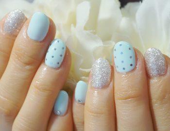 Cenbless 成増フェイシャル&ネイルサロン 春夏の季節に♪爽やかなミントブルーのドットネイル