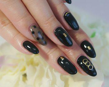 Cenbless 成増フェイシャル&ネイルサロン エロ可愛い♪漆黒ブラック×シースルーネイル