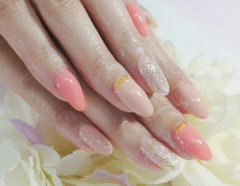 Cenbless 成増フェイシャル&ネイルサロン 初夏を彩るコーラル&オーロラクリアラメネイル