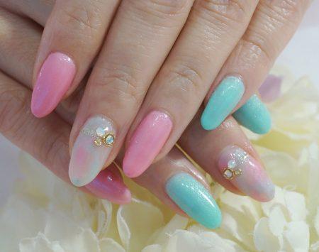 Cenbless 成増フェイシャル&ネイルサロン 人気デザインカラーチェンジ!初夏のピンク&ミントグリーンタイダイネイル