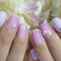 Cenbless 成増フェイシャル&ネイルサロン パープル&ピンクのニュアンスアートにパールビジューの華やかネイル
