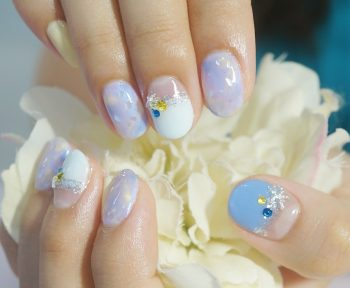 Cenbless 成増フェイシャル&ネイルサロン 夏のふんわりニュアンス♪ブルー×イエローのシェルアートネイル