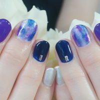 Cenbless 成増フェイシャル&ネイルサロン 濃色パープル&ブルーのタイダイネイル