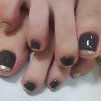 Cenbless 成増フェイシャル&ネイルサロン 秋色ブラウン&シャンパンカラーのフットジェルネイル