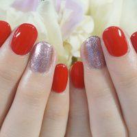 Cenbless 成増フェイシャル&ネイルサロン 真っ赤&ピンクのラメグリッターのワンカラーネイル