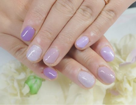 Cenbless 成増フェイシャル&ネイルサロン ルクジェル新色を使ってパープル4色ワンカラーネイル