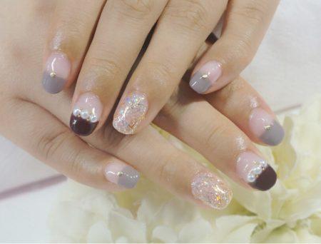 Cenbless 成増フェイシャル&ネイルサロン シックなカラー配色で大人可愛いバレンタインネイル