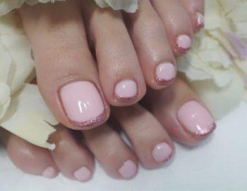 Cenbless 成増フェイシャル&ネイルサロン 春色ピンクのフレンチフットネイル