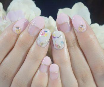 Cenbless 成増フェイシャル&ネイルサロン 上品ベビーピンク×フラワーネイル