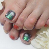 Cenbless 成増フェイシャル&ネイルサロン クリスマスカラー×雪の結晶☆フットネイル