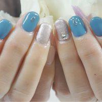 Cenbless 成増フェイシャル&ネイルサロン 人気色!ルクジェルBLM12サックスブルーの冬色ジェルネイル