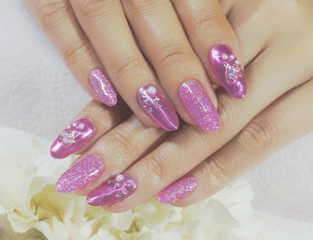 Cenbless 成増フェイシャル&ネイルサロン ギャル系青みピンク!ミラーネイル&ラメカラーでキラッキラのバレンタインネイル