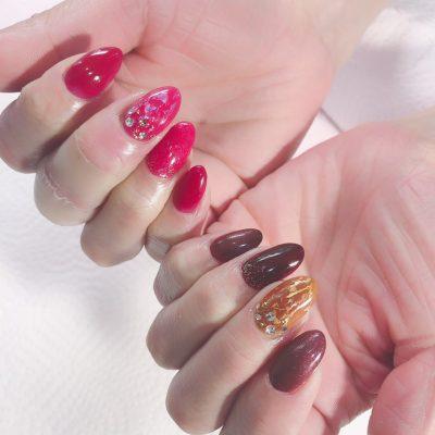 Cenbless 成増フェイシャル&ネイルサロン マイネイルはバレンタイン配色の左右非対称ネイル
