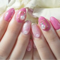 Cenbless 成増フェイシャル&ネイルサロン ピンク系でふんわりまとめたニュアンスアートネイル
