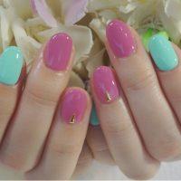 Cenbless 成増フェイシャル&ネイルサロン 春のピンク×ミントカラー♪ワンカラージェルネイル