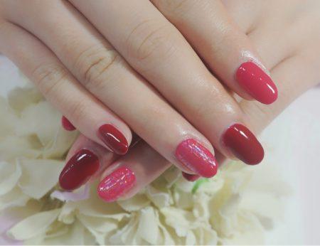 Cenbless 成増フェイシャル&ネイルサロン 元気が出るレッドカラーで!赤×ビビッドピンクのワンカラーネイル