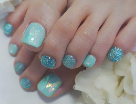 Cenbless 成増フェイシャル&ネイルサロン 清涼感溢れる春のフットネイル☆オーロラの輝き