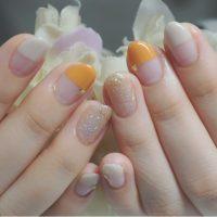Cenbless 成増フェイシャル&ネイルサロン 初夏の季節に♪オークル肌さんに似合う!オレンジ系ストレートフレンチネイル