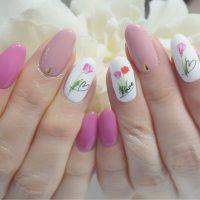 Cenbless 成増フェイシャル&ネイルサロン ふんわり優しいチューリップアート☆ピンク系フラワーネイル