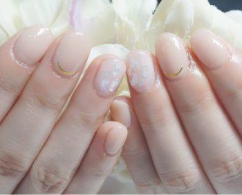 Cenbless 成増フェイシャル&ネイルサロン ヌードベージュ&シェルの煌めき☆ジェルネイル