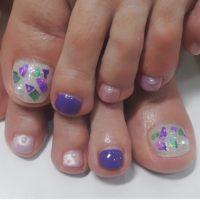 Cenbless 成増フェイシャル&ネイルサロン 紫陽花カラーのフットネイル