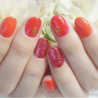 Cenbless 成増フェイシャル&ネイルサロン 3種類の赤色を使って♪夏のワンカラーネイル