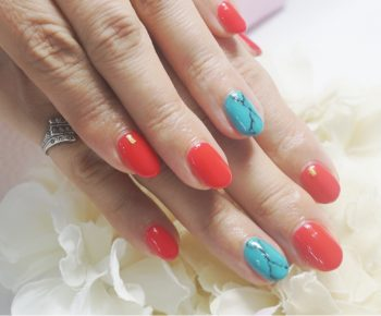 Cenbless 成増フェイシャル&ネイルサロン 赤珊瑚&ターコイズ!天然石風ジェルネイル