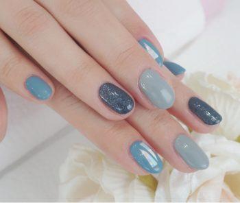 Cenbless 成増フェイシャル&ネイルサロン ブルー系×オーロラフィルム冬ネイル