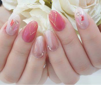 Cenbless 成増フェイシャル&ネイルサロン トレンドのニュアンスミラー&キャッツアイアートで♪ピンクが可愛いバレンタインネイル