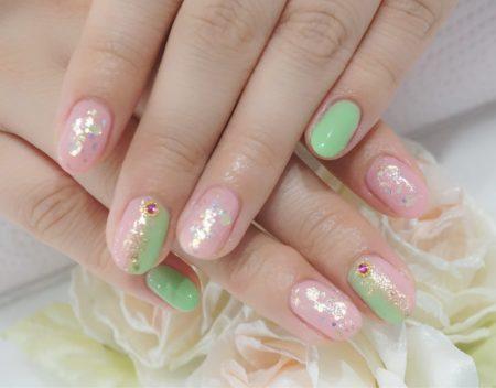 Cenbless 成増フェイシャル&ネイルサロン ハマリカラー配色!!?桜餅をイメージしたカラーの和ネイル