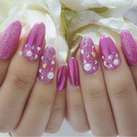 Cenbless 成増フェイシャル&ネイルサロン ピンクのラメ&ミラー!ギラッギラ可愛いバレンタインネイル