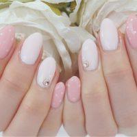 Cenbless 成増フェイシャル&ネイルサロン 春色ベビーピンク!ピンク2色と華奢なドットで大人可愛いデザインネイル♪