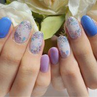 Cenbless 成増フェイシャル&ネイルサロン 梅雨シーズンも元気に♪藤色×紫陽花風ホロネイル☆